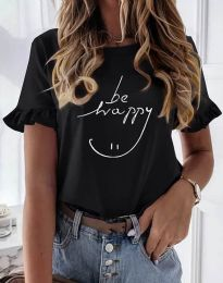 Дамска тениска в черно с надпис - код 1038