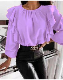 Ефектна дамска блуза в лилаво - код 4445