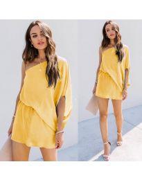 Ефирна дамска рокля в жълто - код 9933