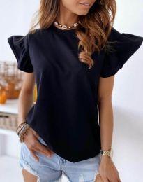 Дамска тениска с къдрички в черно с ефектни ръкави - код 4669