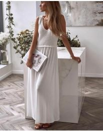 Дълга дамска рокля в бяло - код 5261