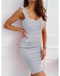 Дамска рокля с ефектни презрамки в сиво - код 029