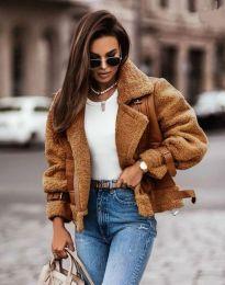 Късо дамско палто в кафяво - код 4855
