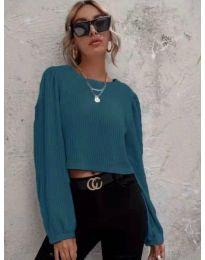 Дамска блуза в цвят тюркоаз - код 5932