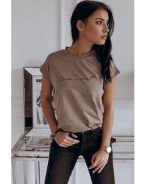 Кафява дамска тениска с надпис в предната част - код 3582