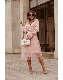 Дамска рокля в цвят пудра - код 9994