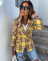 Дамско сако в жълто каре - код 4715