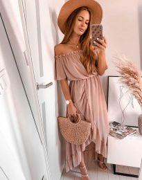 Елегантна рокля в цвят пудра - код 0186