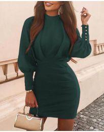 Дамска рокля в тъмнозелено - код 4016