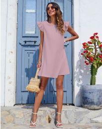 Къса дамска рокля в цвят пудра - код 6261