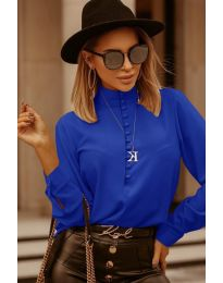 Изчистена дамска риза в тъмно синьо - код 1740