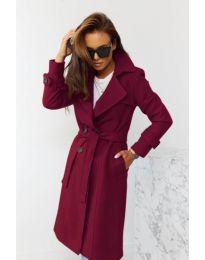 Дамско палто с колан в бордо - код 1500