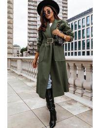 Дълго дамско палто в маслено зелено - код 9888