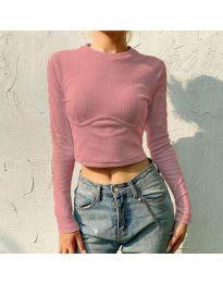 Къса дамска блуза в цвят пудра - код 1124
