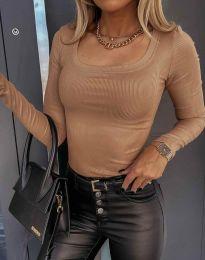 Стилна дамска блуза в цвят капучино - код 6342