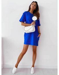 Изчистена рокля с джобове в тъмно синьо - код 7236