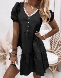 Дамска рокля в черно на точки - код 8292
