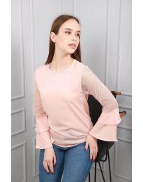 Ефирна дамска блуза в розово - код 0643