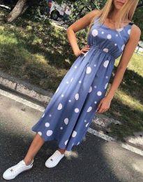 Атрактивна лятна рокля в синьо - код 8122