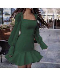 Елегантна рокля в маслено зелено - код 3605
