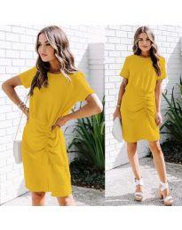 Изчистена рокля в цвят жълто - код 835