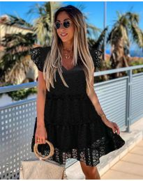 Дантелена лятна рокля в черно - код 485