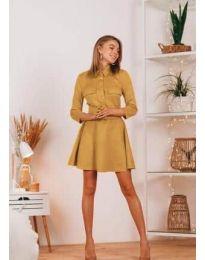 Свободна дамска рокля в цвят горчица - код 6619