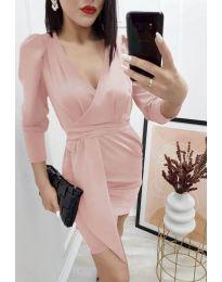 Елегантна дамска рокля в цвят пудра - код 0515