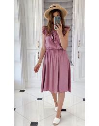 Елегантна рокля в цвят пудра - код 701
