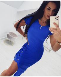 Спортно - елегантна рокля в синьо - код 059