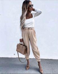 Дамски панталон с колан в бежово - код 2109