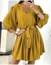Свободна рокля в цвят горчица - код 6210