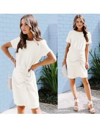 Изчистена рокля в цвят бяло - код 835