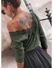 Дамска блуза в маслено зелено - код 188