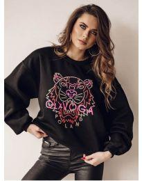 Свободна дамска блуза в черно с принт - код 5956
