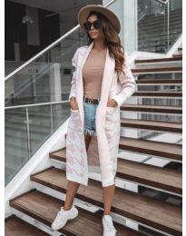 Дълга дамска жилетка в бяло с розови мотиви - код 5517