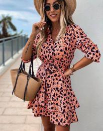 Дамска рокля с атрактивен десен в цвят корал - код 2216