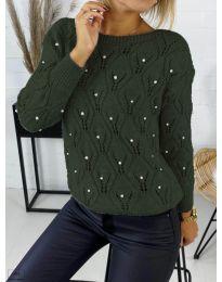 Дамска пуловер в маслено зелено - код 392
