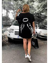 Свободна рокля в черно с принт - код 3353