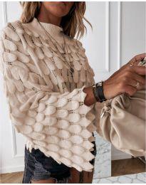 Ефектен дамски пуловер в бежово - код 8092