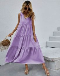 Свободна дълга рокля в лилаво - код 8149