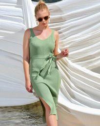Дамска рокля в зелено с цепка - код 2722