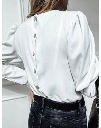 Изчистена дамска блуза с копчета при гърба в бяло - код 318