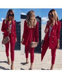 Стилен дамски комплект от сако и панталон в бордо - код 172