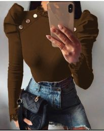 Екстравагантна дамска блуза в кафяво - код 9630