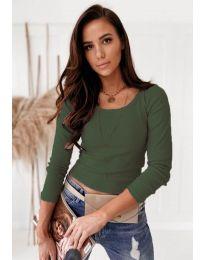 Изчистена дамска блуза в масленозелено - код 8365