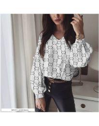 Дамска бяла риза с ефектен десен и бухнали ръкави - код 851 - 1