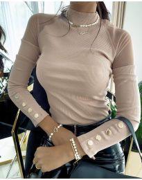 Дамска блуза с ефектни ръкави в бежово - код 2771