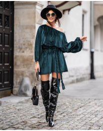 Свободна рокля в тъмно зелено - код 324