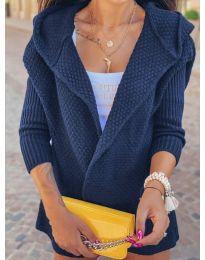Къса плетена жилетка в цвят нави - код 7823